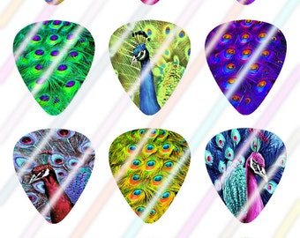 Peacock Guitar Picks Images 4x6 Digital Collage Sheet Wine Love Instant Download
