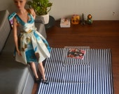 Black and White Striped Rug for Sixth-scale Dolls and Diorama
