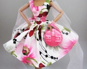 Frosted Pink Vintage Flower Dress Fashion for Fashion Royalty and Silkstone Barbie