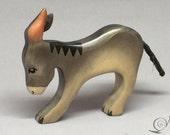 Toy donkey foal baby wood grey head down | Size: 9,0x 8,0  x 1,8 cm (bxhxs) approx. 31,0 gr.