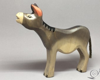 Toy Donkey wooden grey with head up without saddle bags Size: 15,0x 14,0  x 2,2 cm (bxhxs) approx. 89,5 gr.