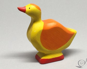 Toy duck wooden colourful Yellow Orange Size: 6,5 x 7,0 x 2,0 cm (b x h x s)  ca. 20,0 gr.