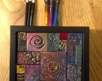 Sun and Moon...Polymer Clay Mosaic Desktop Organizer