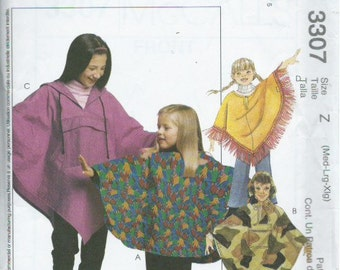 McCall's 3307 Sewing Pattern Girls' Ponchos and Pull-On Pants (2001)