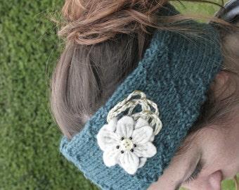 Hand knitted woolen headband - ear warmers - hand felted flower - made in Ireland = green - white - black