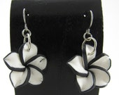 20mm Hawaiian White Plumeria Frangipani Polymer Clay Dangle Earrings with Black Edges and Hypoallergenic Stainless Steel Earring Wires