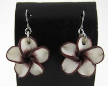 20mm Hawaiian White Plumeria Frangipani Polymer Clay Dangle Earrings Chocolate Brown Edges and a Chocolate Brown Center, Stainless Steel