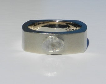 Natural Untreated Men's 1.37 Carat Rough Diamond Wedding Ring Solid 18kt White Gold ~ Gem Quality