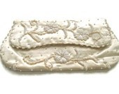 Vintage Wedding Clutch 1940s Fold Over Beaded Cream Satin Purse