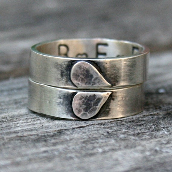 sterling silver ring set personalized friendship ring