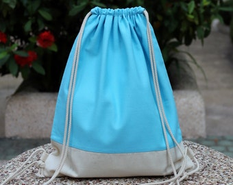 Drawstring backpack/ Drawstring bag/ gym bag ~ Rainbow series (light blue) (B29)