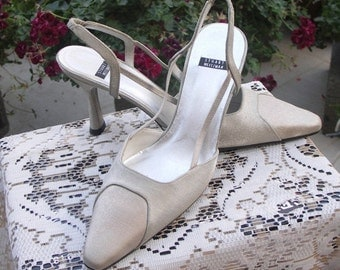 25% OFF SALE Stuart Weizman vintage 80s satin covered evening shoes