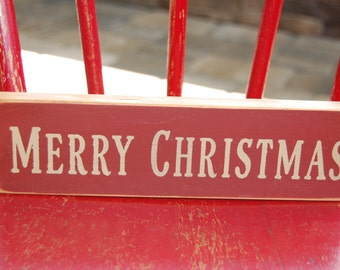 Merry Christmas...Distressed hand stenciled shelf sitter sign