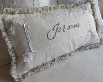 Je'taime in white 10X20 lumbar hand painted decorative pillow