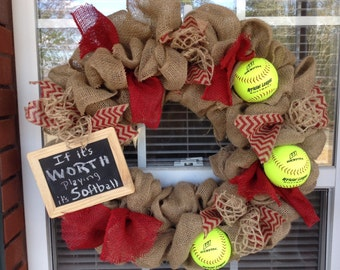 Burlap softball/baseball wreath/Sports/front door decor for baseball/softball/burlap