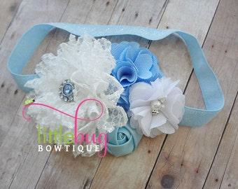 White Baby Blue Birthday Cake Smash Party Glitter Elastic Flower Headband - Pearl Rhinestone Newborns, Toddlers, Girls, Teens