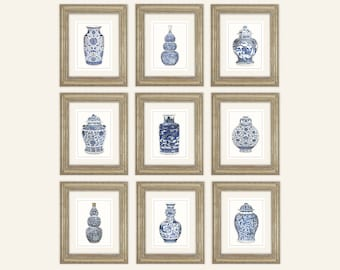 Set of 9 Blue & White Ginger Jar and Asian Porcelain Fine Art Prints on Archival Watercolor Paper