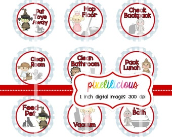 Chore Chart Digital Bottle Cap Images - OZ -  Chore Chart with 30 Chores - 1 Inch Digital Collage - Instant Download