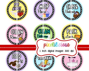 Chore Chart Digital Bottle Cap Images - PASTEL 1 -  Chore Chart with 30 Chores - 1 Inch Digital Collage - Instant Download