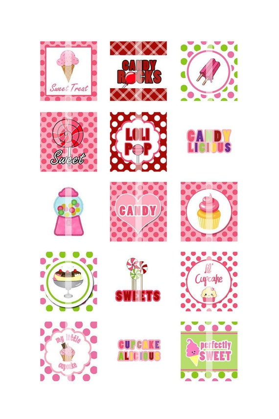 Sweet Treats 4 Scrabble Tiles Digital Collage Sheet