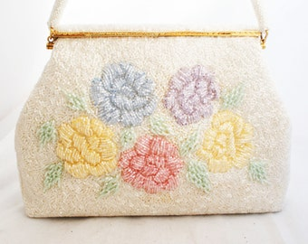 Purse- Bridal Large Hand Beaded Floral Pastel Evening Clutch with Handle