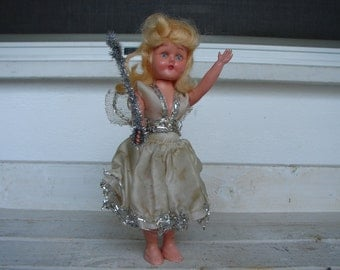 antique roddy doll, Christmas tree fairy doll 7.5'' in original clothes, open & close blue eyes, blonde hair