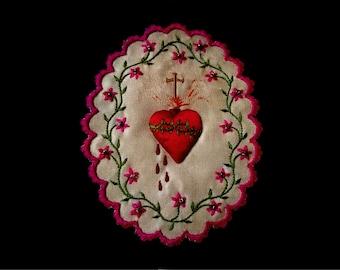 Antique Embroidered French Reliquary, Memento Mori, Sacred Heart Embroidery, Sacred Textile, Bleeding Heart Scapular, Handmade Love Token