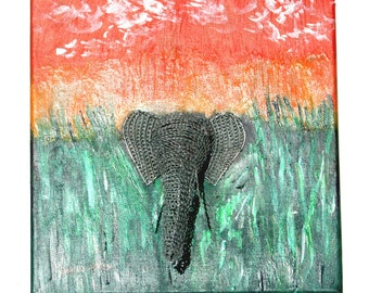 African Art 3D .Wire work Elephant mounted on Painted Canvas
