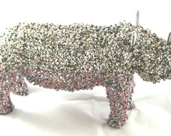 Lady Rhino Beaded with Wire Frame Hand Crafted in Africa