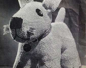 Vintage Knitting Pattern, Toy Dog Knitting Pattern, Soft Toy Pattern, 1940's Pattern, Copy - Not Original Pattern, Woolly Dog, UK Seller