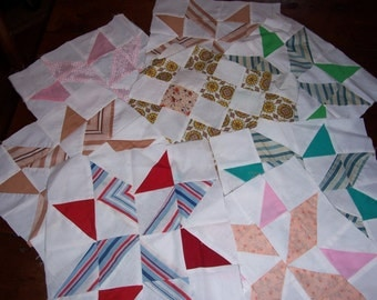 Set of 8..Vintage Quilt Blocks..Quilted Patchworks Pieces...Handmade Quilt Squares...Quilt Pieces...Pillow top Quilt Pieces..