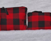 Red and Black Flannel Make up Pouch Duo Upcycled Flannel and Denim Zip Top Pouches