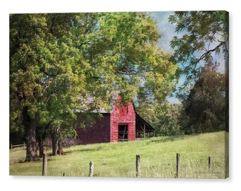 Charming Landscape Red Barn Green Pasture North Carolina Countryside Country Farmhouse Art Fine Art Photography Giclee Gallery Wrap Canvas