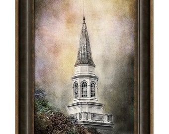 Church Steeple Bell Tower and Catwalk Architecture Gothic Romance Surreal Fine Art Photography Print or Gallery Wrap Canvas Giclee