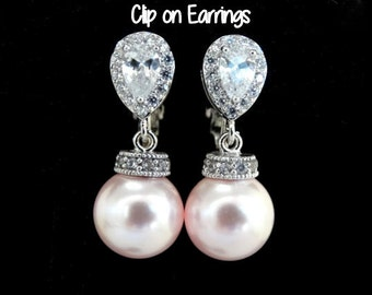 Clip On Pearl Earrings Pink White Pearls Ivory Pearls cubic zirconia Earrings Wedding Jewelry Bridal Clip on Earrings non pierced earrings