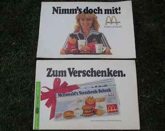 McDonald's posters vintage advertising 1980's set of two German posters