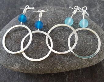 Silver hoop and bead earrings