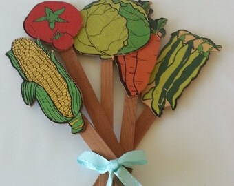Vintage Wooden Vegetable Garden Stakes