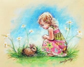 "Bunny and girl Rabbit  Nursery wall art, kids Canvas or Cotton art paper print "" Baby Bunny"" by Laurie Shanholtzer,"