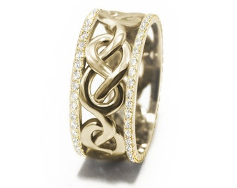 Infinity Knot Diamond Wedding Band - Unique eternity Celtic Infinity Anniversary Band.