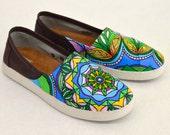 Custom Hand Painted Mandala Mauve Coated Canvas Avalon Slip On Toms - Baha'i Symbol Pattern