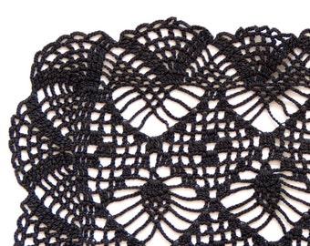 Rectangular black Crochet doily, vintage hand dyed Doily, Table runner, crochet centerpiece, Cotton Lace Doily