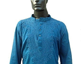 Dark Turquoise Shirt long sleeved, cotton, tunic, kurta, indie, hipster, embroidered, blue, classic, casual, extra large, elegant, saree