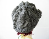 Cable knit grey beanie winter ski hat with pom pom,  Hand Knitted...Vegan cable Hat Beret