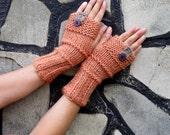 Fingerless Gloves, Handknitted Mittens Cozy Fingerless Gloves orange beige, purple button Gloves, Gloves Teens, Gloves Mittens,