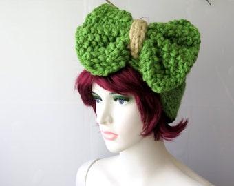 Knitted Bow Headband, Wide Bow Ear Warmer, Women's Fashion Accessory, Winter Headband,Knotted Bow Headband in green