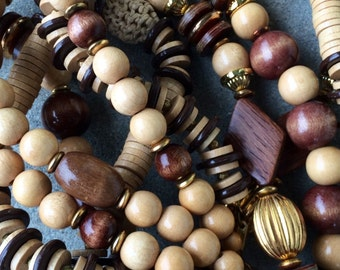 Miriam Haskell necklace lot wooden and woven straw three lovely necklaces to layer 1960 1970s
