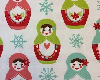 Riley Blake Merry Matryoshka fabric in White