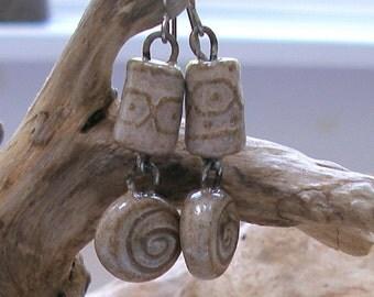 Rustic Tribal Design Clay Earrings-- Natural  630