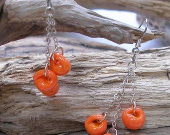 Pumpkin Orange Teardrop Earrings   637